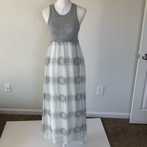 Splendid Maxi Dress Size S Gray Blue Plaid
